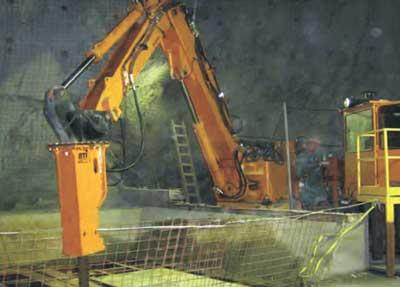 rock breaker inside a mine