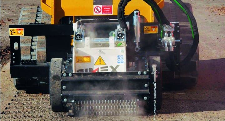 RS16 Rumble Strip Grinder in use on a dirt road