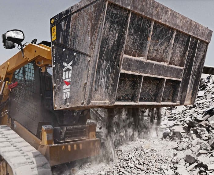 a crusher bucket in use